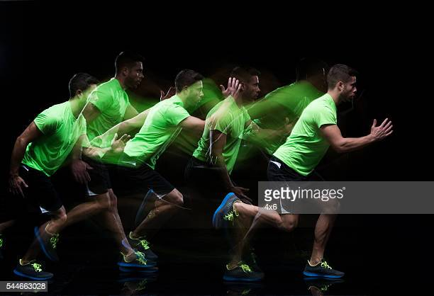 Multiple Exposure - Male runner running