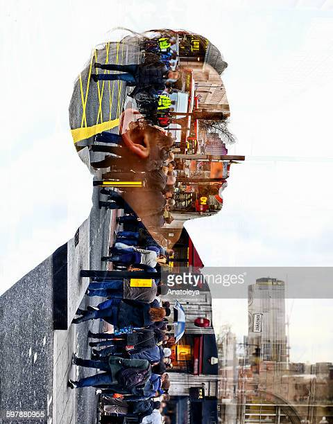 multiple exposure - man & london city - anatoleya stock pictures, royalty-free photos & images