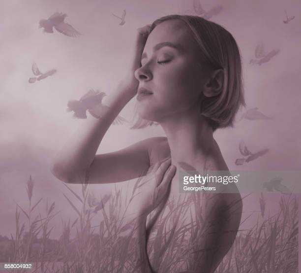 multiple exposure of a serene woman meditating and enjoying nature - vulnerability stock pictures, royalty-free photos & images