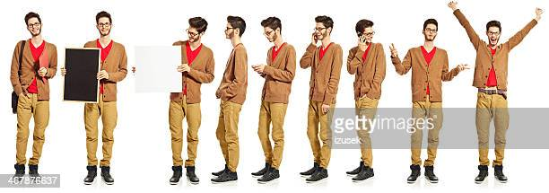 multiple exposure of a young man - multiple image stock pictures, royalty-free photos & images