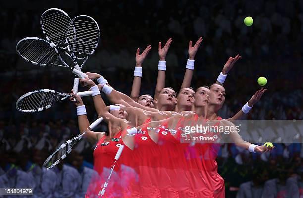 A multiple exposure of Agnieszka Radwanska of Poland serving to Sara Errani of Italy during day four of the season ending TEB BNP Paribas WTA...
