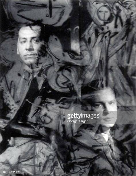 Multiple exposure of an untitled drip painting by abstract expressionist Jackson Pollock superimposed over portraits of fellow New York School...