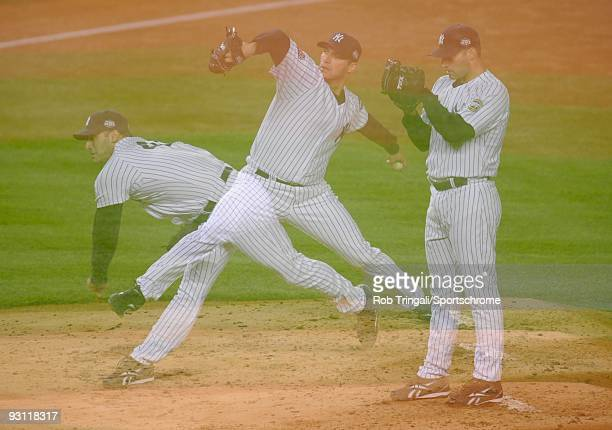 A multiple exposure of Andy Pettitte of the New York Yankees pitching against the Philadelphia Phillies during Game Six of the 2009 MLB World Series...