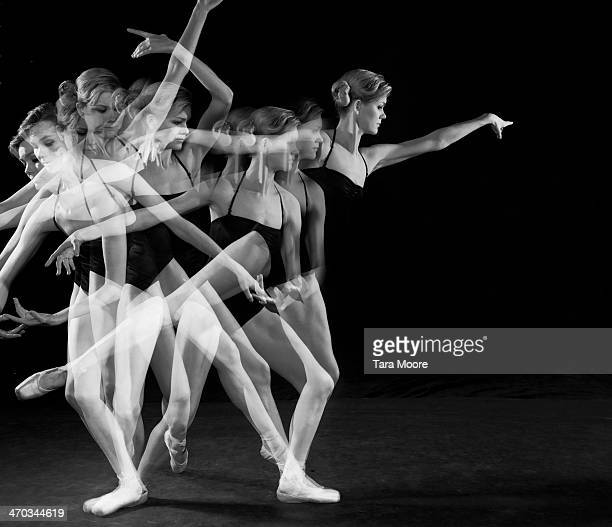 multiple exposure of ballet dancer dancing