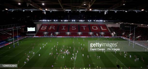 Multiple exposure of Bristol Bears v Gloucester during the Gallagher Premiership match at Ashton Gate Bristol