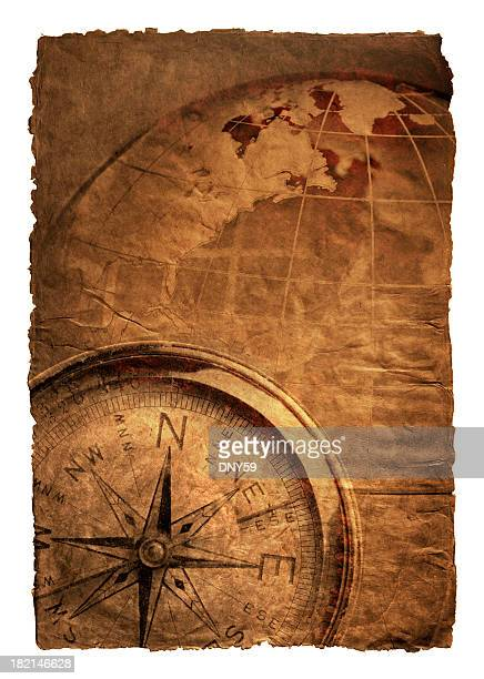 Multiple Exposure Of Compass And Globe On Richly Textured Surface