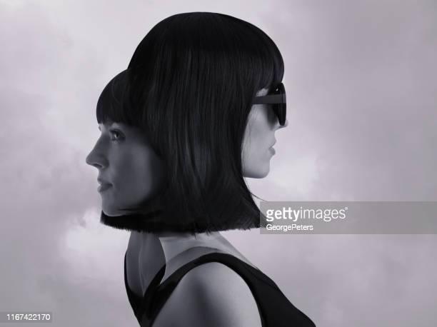 meervoudige blootstelling van vrouwelijke identieke tweeling en dramatische hemel - beeldmanipulatie stockfoto's en -beelden