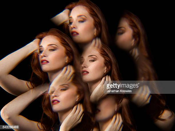 Multiple exposure of female, playing with hair