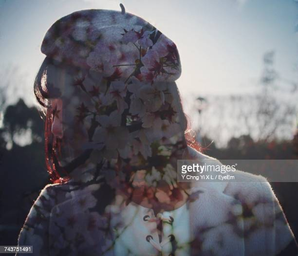 Multiple Exposure Of Flowering Plants And Woman