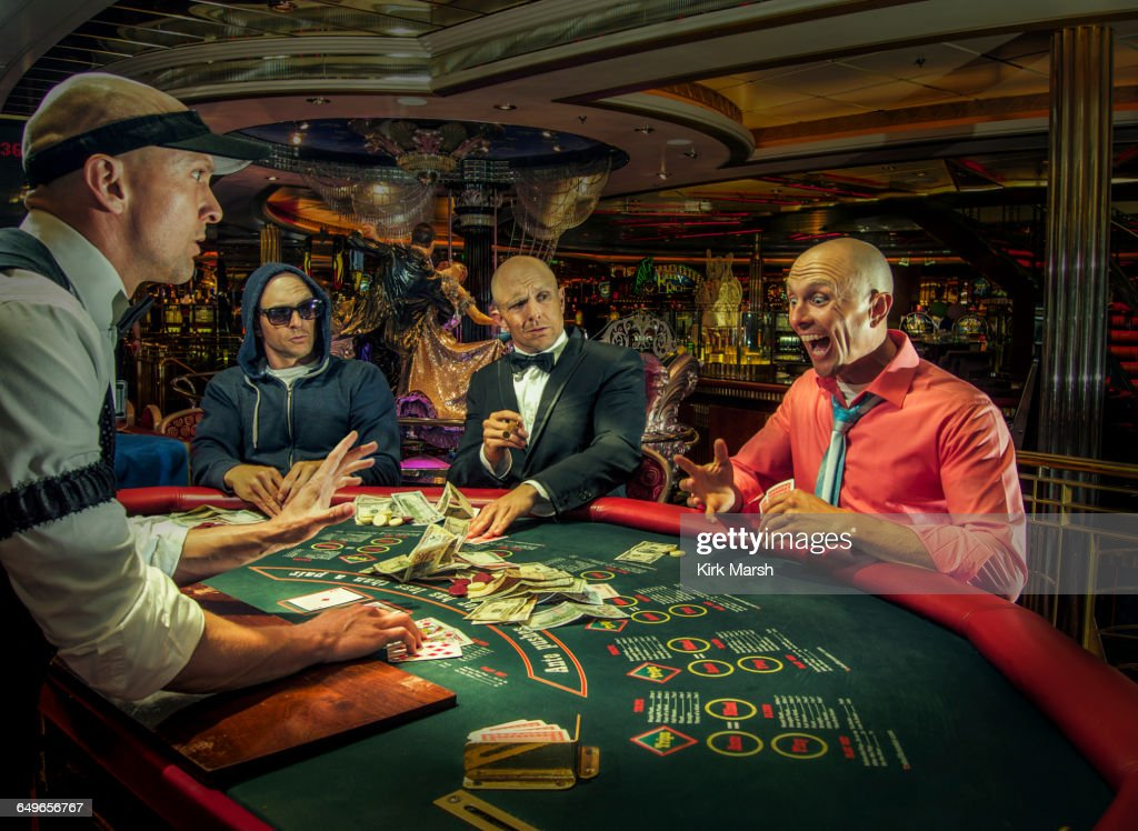 Multiple exposure of gamblers playing poker in casino : Foto de stock