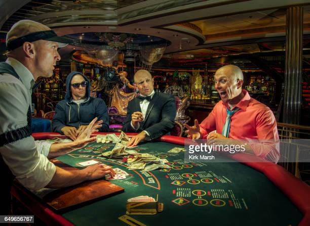 Multiple exposure of gamblers playing poker in casino