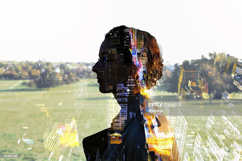 Multiple exposure of girl and city : Stock Photo