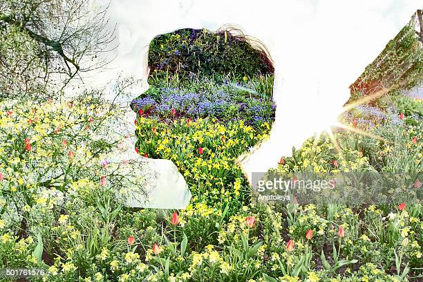 multiple exposure of girl and flowers - anatoleya stock pictures, royalty-free photos & images