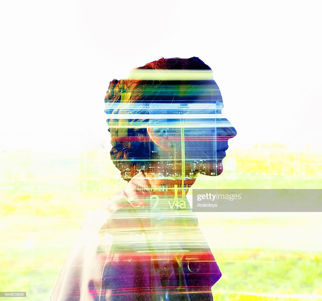 Multiple exposure of girl and traffic : Stock Photo