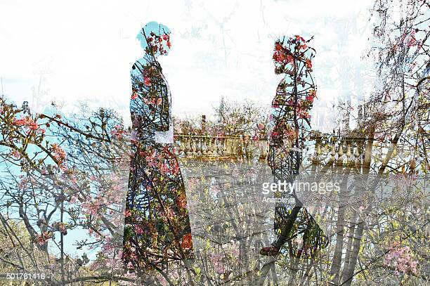 multiple exposure of man, woman and flowers - anatoleya stock pictures, royalty-free photos & images