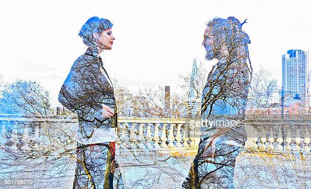 multiple exposure of man, woman and nature - anatoleya stock pictures, royalty-free photos & images