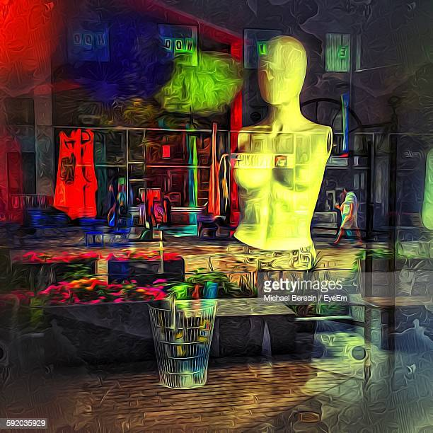 Multiple Exposure Of Mannequin And Footpath