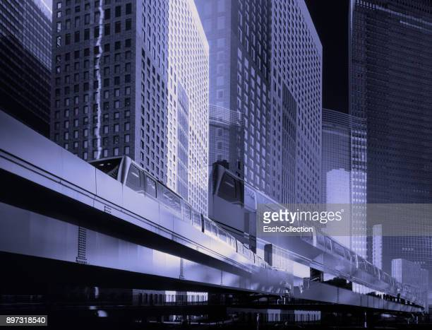 Multiple exposure of modern business district in Tokyo, Japan