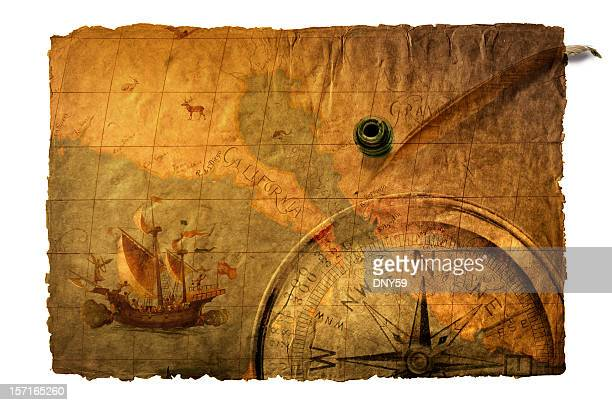 multiple exposure of old world map,compass, inkwell and quill - pirate ship stock photos and pictures