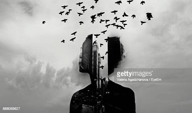 Multiple Exposure Of Person And Birds Flying Against Cloudy Sky