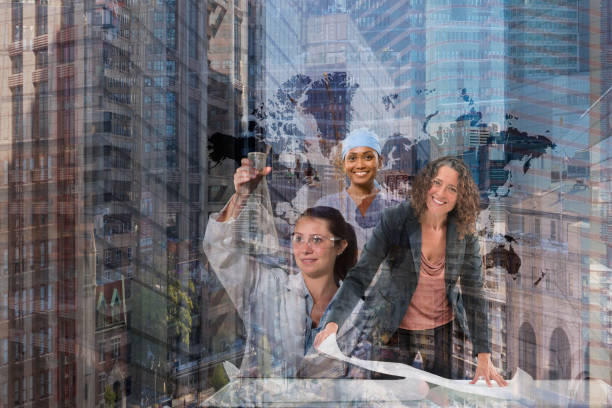 Multiple exposure of professional women in cityscape
