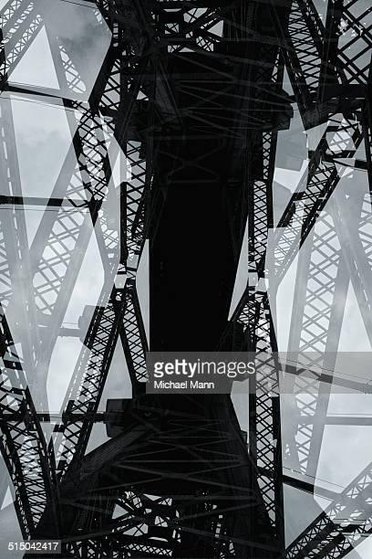 Multiple exposure of steel beams of bridge