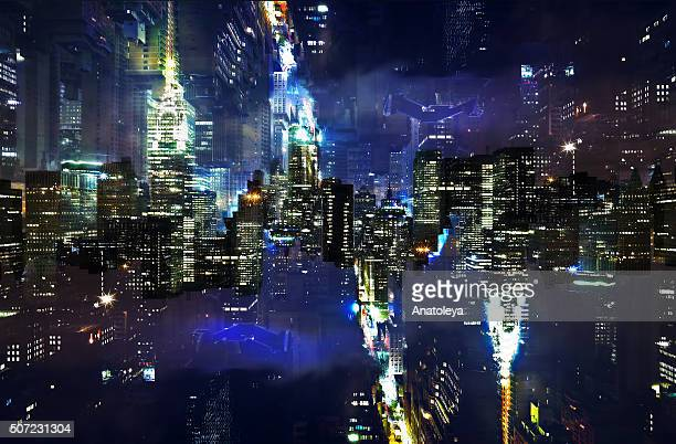 Multiple exposure of the NYC skyline at night