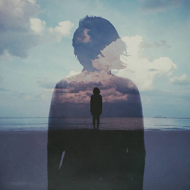 Multiple Exposure Of Woman On Beach Against Cloudy Sky Wall Art
