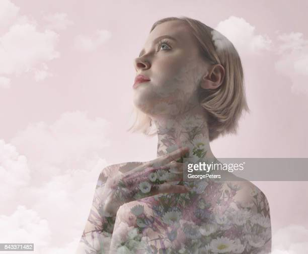 multiple exposure of woman recovering from mental health problems - mystic goddess stock photos and pictures