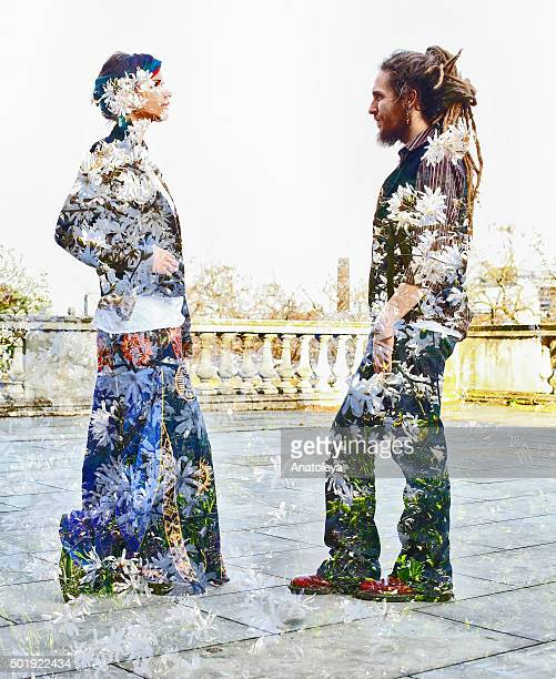 Multiple exposure of young couple and flowers