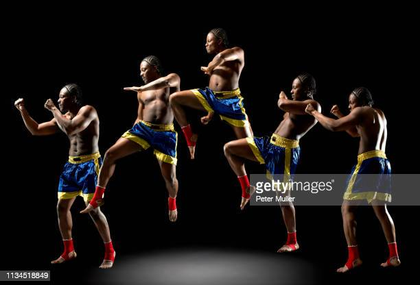 multiple exposure of young male boxer - multiple exposure sport stock pictures, royalty-free photos & images