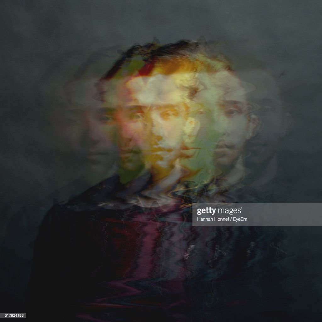 Multiple Exposure Of Young Man Standing Colored Background : Stock Photo