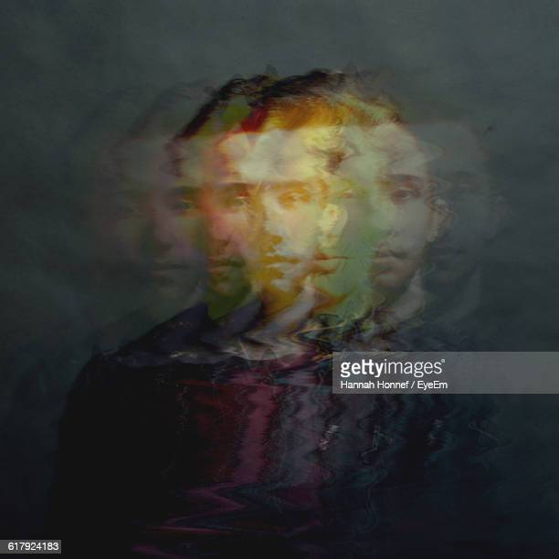 Multiple Exposure Of Young Man Standing Colored Background