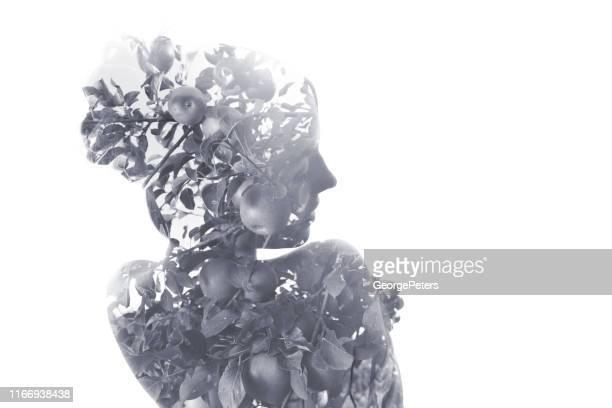 flera exponering av ung kvinna morphing i äppelträd - naturens skönhet bildbanksfoton och bilder