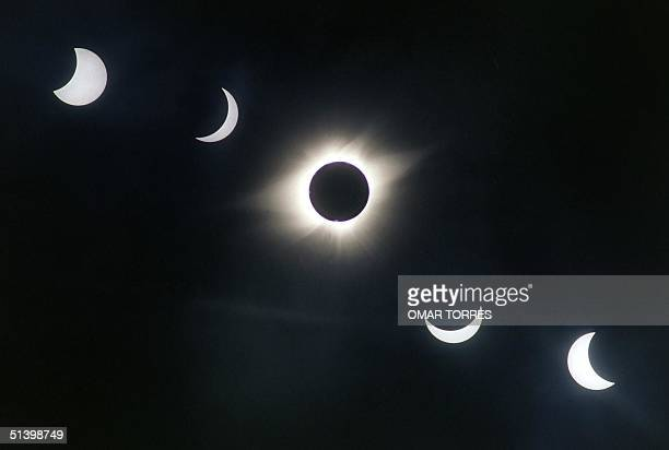 A multiple exposure photograph shows the progress of the 11 July 1991 solar eclipse over Xochicalco Mexico The sequence begins at the upper left