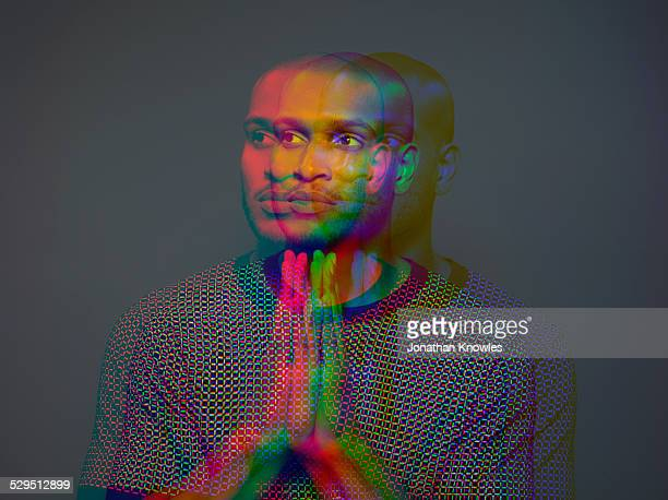 Multiple exposure portrait a dark skinned male