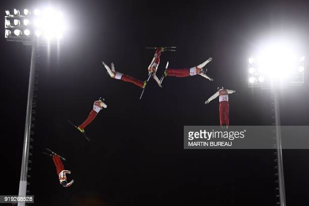 TOPSHOT A multiple exposure shows Switzerland's Dimitri Isler attending a training session before the men's aerials qualification event during the...