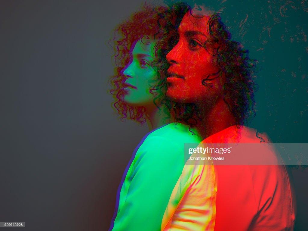 Multiple exposure, side view,dark skinned female : Stock Photo
