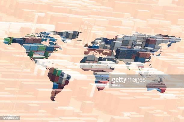 multiple exposure world map