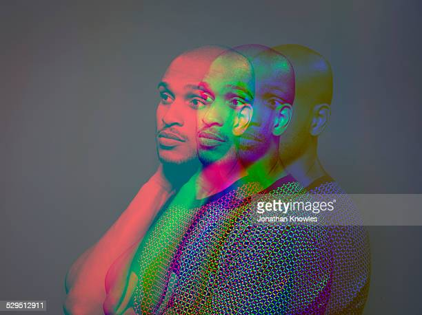 Multiple exposure,portrait a dark skinned male