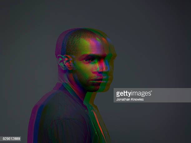 Multiple exposure,portrait of a dark skinned male