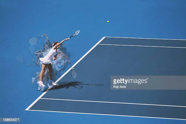 multiple exposures of a young female tennis player serving - serving sport stock pictures, royalty-free photos & images