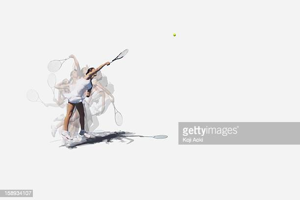 Multiple Exposures of a Young Female Tennis Player Serving
