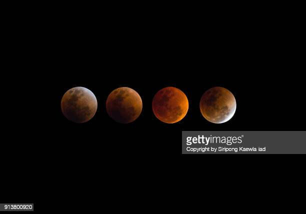 Multiple exposures of the total lunar eclipse on 31st January 2018, Bangkok, Thailand.