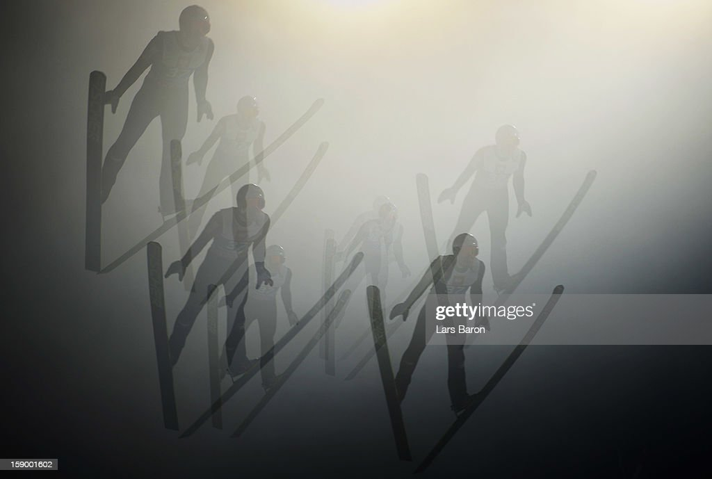 Multiple exposures were combined in camera to produce this image.) Jurij Tepes of Slovenia competes during the qualification round for the FIS Ski Jumping World Cup event of the 61st Four Hills ski jumping tournament at Paul-Ausserleitner-Schanze on January 5, 2013 in Bischofshofen, Austria.
