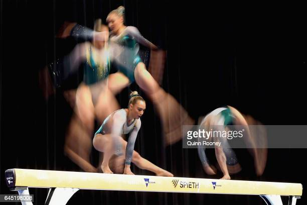 Multiple exposures were combined in camera to produce this image Emily Little of Australia performs on the Beam during the World Cup Gymnastics at...