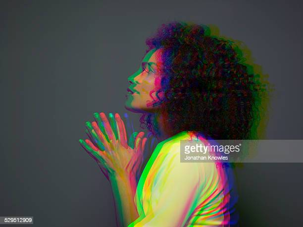 multiple exposure,side view,dark skinned female - spirituality stock pictures, royalty-free photos & images