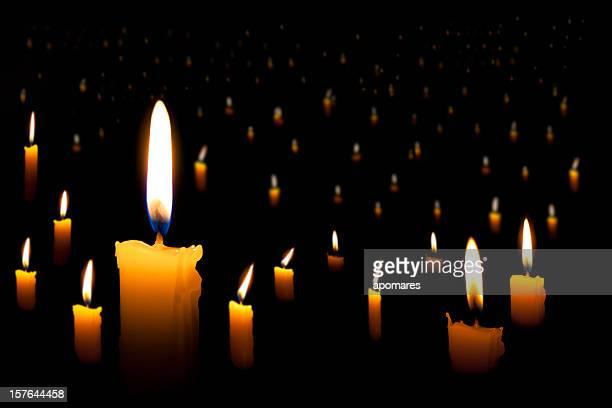 multiple flaming candles - hanukkah stockfoto's en -beelden