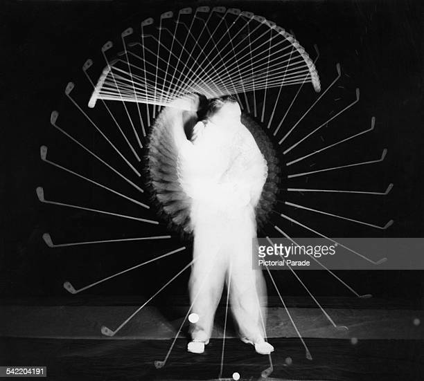 A multiple flash photo of American amateur golfer Bobby Jones making a complete drive circa 1930 The time interval between pictures is 1/100th of a...