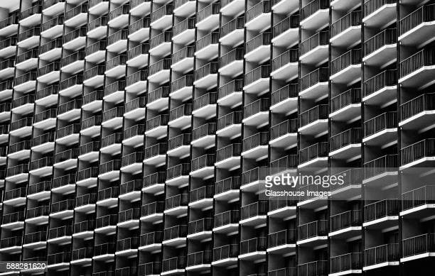 multiple identical balconies - dozen stock pictures, royalty-free photos & images